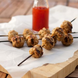 Grilled Chicken Meatballs on Wooden Sticks