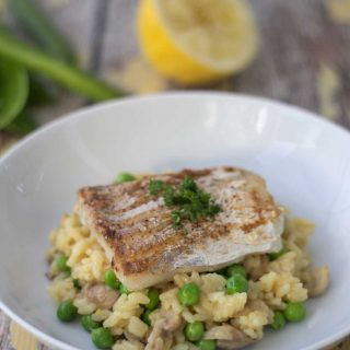 Risotto with Fried Cod and Fresh Peas