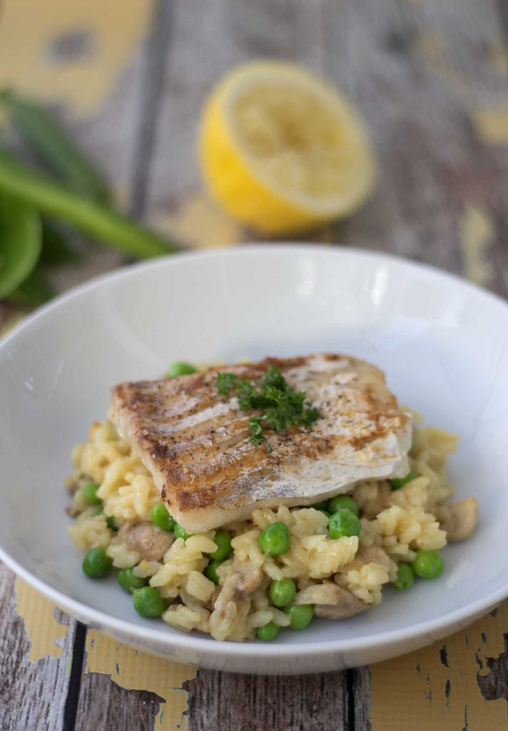 Recipe For Risotto With Fried Cod And Fresh Peas