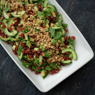 Spicy Salad with Avocado, Pomegranate and Sugar Snaps