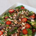 Spinach Salad with Strawberries and Green Asparagus