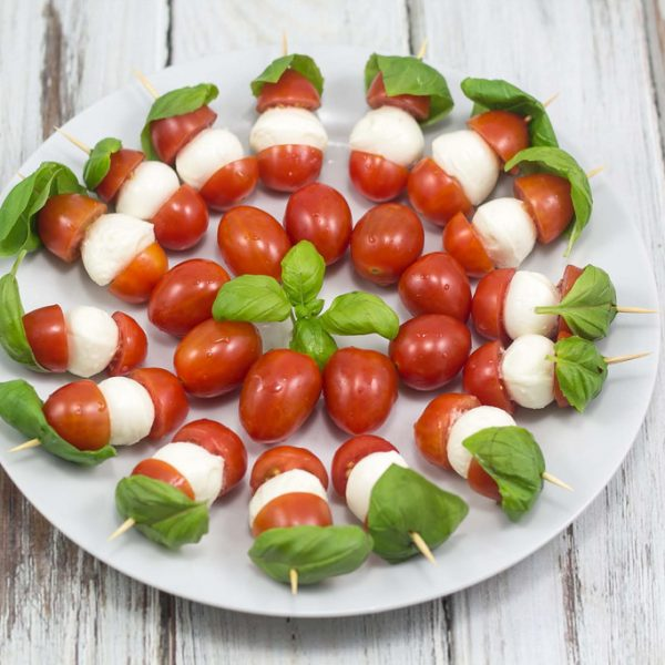 Tomato, Mozzarella and Basil Skewers
