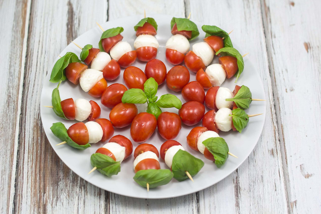 Tomato, Mozzarella and Basil Skewers