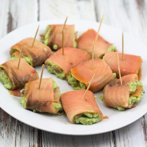 Smoked Salmon Rolls with Avocado Cream