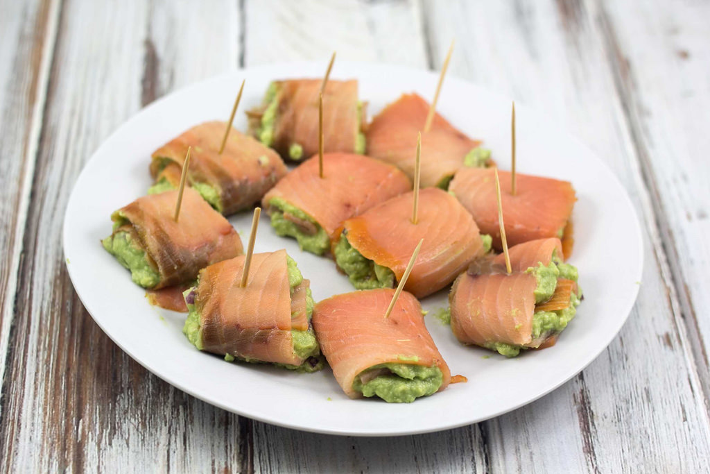 Smoked Salmon Rolls with Avocado Cream