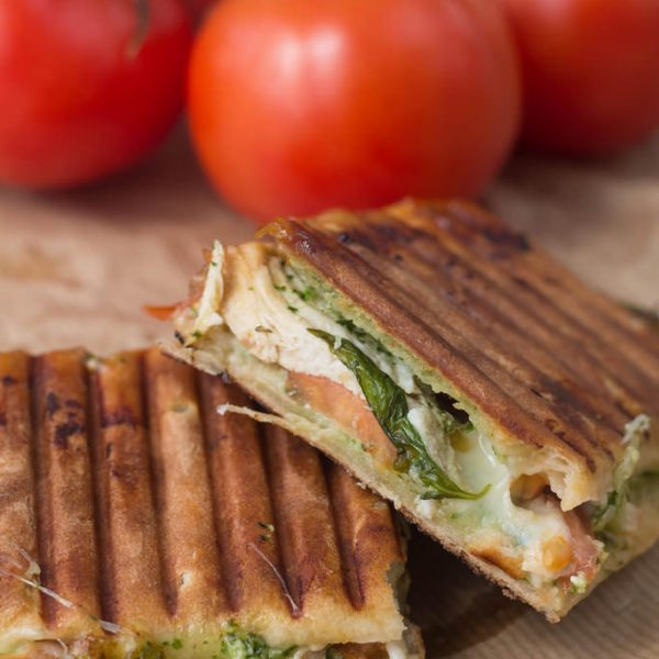 Panini with Chicken, Pesto & Mozzarella