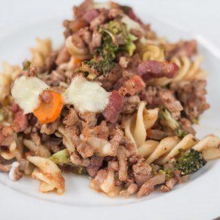 Healthy Pork, Broccoli and Bacon Pasta