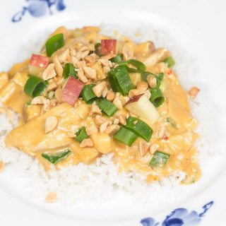 Peanut Butter Chicken with Apples and Spring Onions