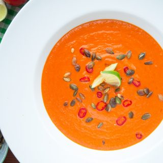 Spicy Tomato Lime Coconut Soup