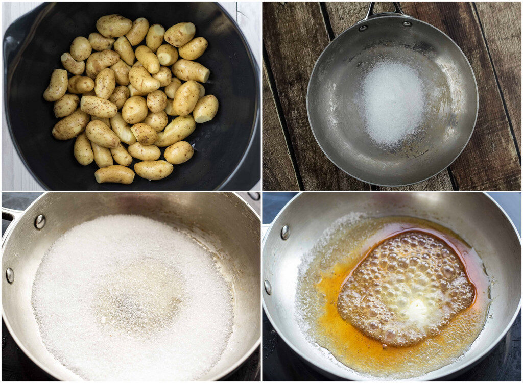 Recipe for Homemade Danish Sugar Browned Potatoes for Christmas