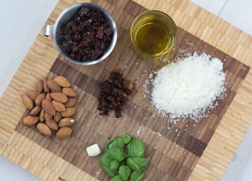 Recipe for homemade sun-dried tomato parmesan pesto